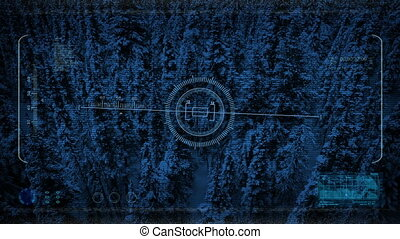 Drone HUD POV Flying Over Snowy Forest At Night - Point of...