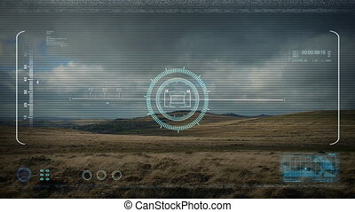 Drone HUD POV Flying Past Rugged Landscape - View of feed...