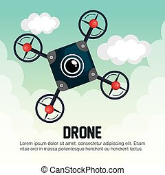 drone icon blue with cloud graphic
