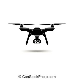 Drone icon. Copter or quadcopter with camera isolated on white background.