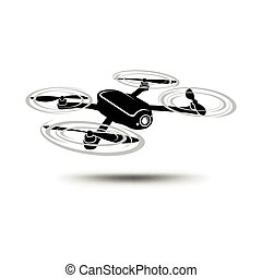 Drone icon. Copter or quadcopter with camera isolated on...