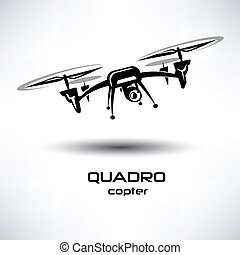drone icon, quadrocopter stylized vector symbol