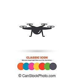Drone icon. Quadrocopter symbol.