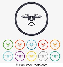 Drone icon. Quadrocopter with action camera.