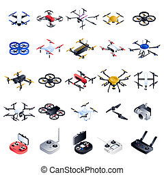 Drone icon set, isometric style