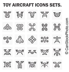 Drone icon - Toy aircraft icons sets.