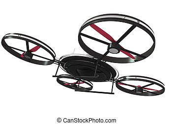 Drone Illustration 3D Isolated on White. Quadrocopter...