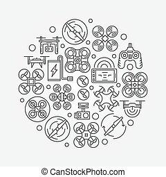 Drone illustration concept