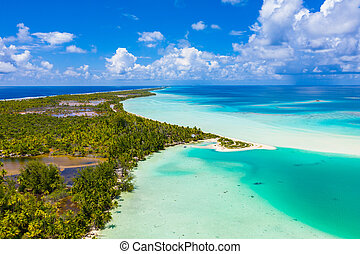 Drone image of Fakarava atoll island motu and in French...