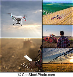Drone in agricultural production collage - Collage of...