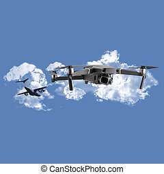 Drone in airport no fly zone danger consept
