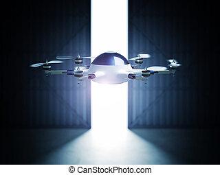 drone in hangar - futuristic 3d drone and hangar doors