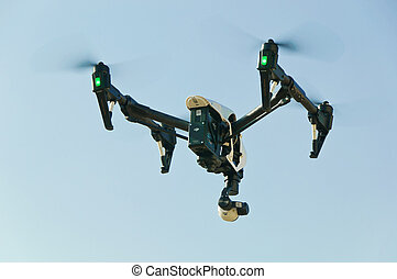 Unmanned Aerial Vehicle drone in flight sky