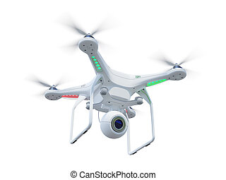 Drone in sky - White drone, quadrocopter, with photo camera...