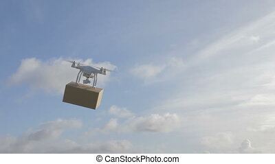 drone in the sky deliver a package