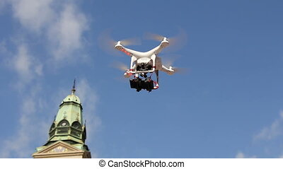 Drone is flying - Drone is the unmanned aircraft, which fly...