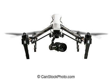 Drone isolated on white background - Drone with camera, ...