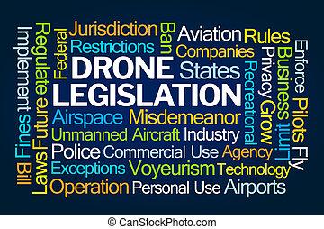 Drone Legislation Word Cloud on Blue Background