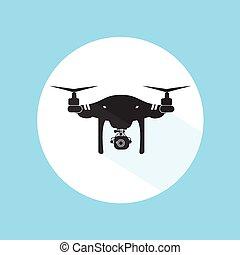 Drone Logo Design Icon Silhouette Technology Camera Vector Illustration
