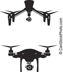 Drone Logo Design Icon Technology Camera Vector Illustration