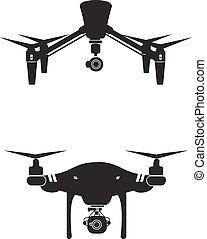 Drone Logo Design Icon Vector Illustration