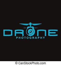 Drone logo, emblem with flat design