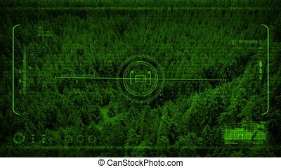 Drone Night Vision POV Over Wild Valley