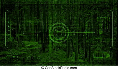 Drone Nightvision POV Rising Up Trees - Drone POV with hud...
