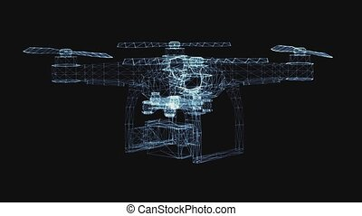 Drone of luminous lines and dots. 3d illustration video on a black background