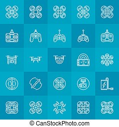 Drone or quadcopter icons set