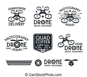 Drone or quadrocopter set of vector badges - Drone or...