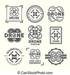 Drone or quadrocopter set of vector black labels