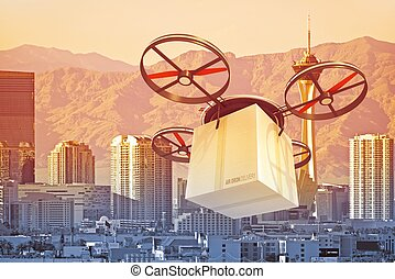 Drone Over Las Vegas - Postal Drone Over Las Vegas. Package...