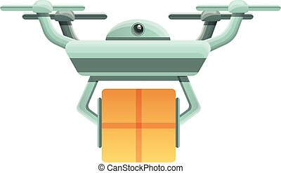 Drone parcel delivery icon, cartoon style
