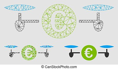 Drone Payment Vector Mesh Wire Frame Model and Triangle Mosaic Icon