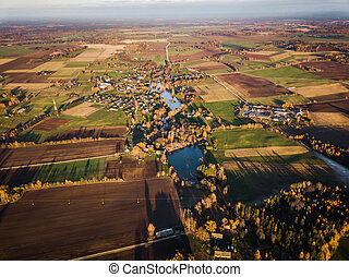 Drone Photo of the Fields in Colorful Late Autumn