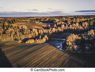 Drone Photo of the Fields in Colorful Late Autumn - Vintage look edit