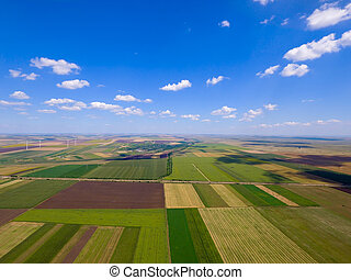 Drone photo quad in a field in summer - Aerial top view ...