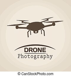 Drone photography in vintage style poster with drone icon,...