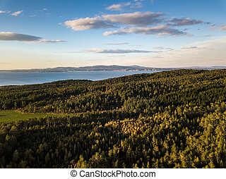 Drone Photography of a Calm Sunny Autumn Evening in Norway Countryside