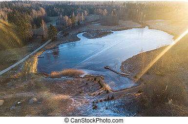 Drone Photography of Countryside Landscape in Winter - Sun Flare