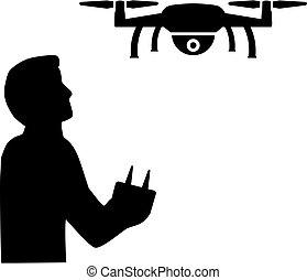 Drone Pilot flying silhouette black