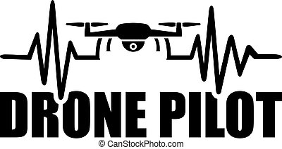 Drone pilot icon with heartbeat