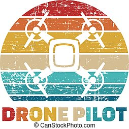 Drone Pilot Icon in vintage colors