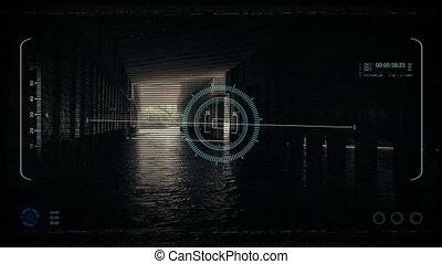 Drone POV Above Water Under Bridge - Drone POV flying...