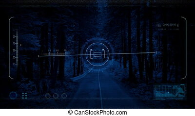 Drone POV Along Road Through Wilderness At Night - Drone pov...
