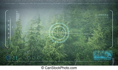 Drone POV Flying Over Misty Forest