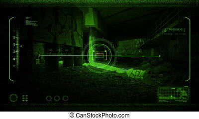 Drone POV in an industrial area with graffiti