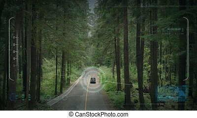Drone POV Tracking Car On Forest Road - Drone POV tracks a...