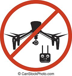 Drone Prohibited Danger Zone Sky Icon Red Vector Illustration